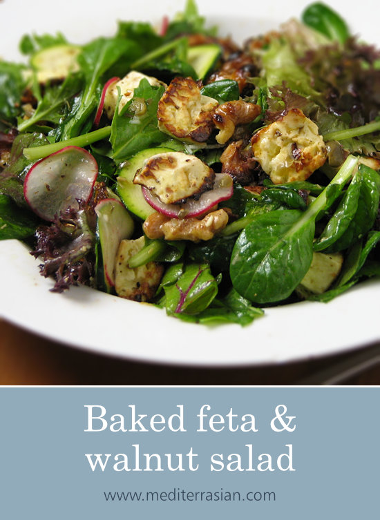 Baked feta and walnut salad