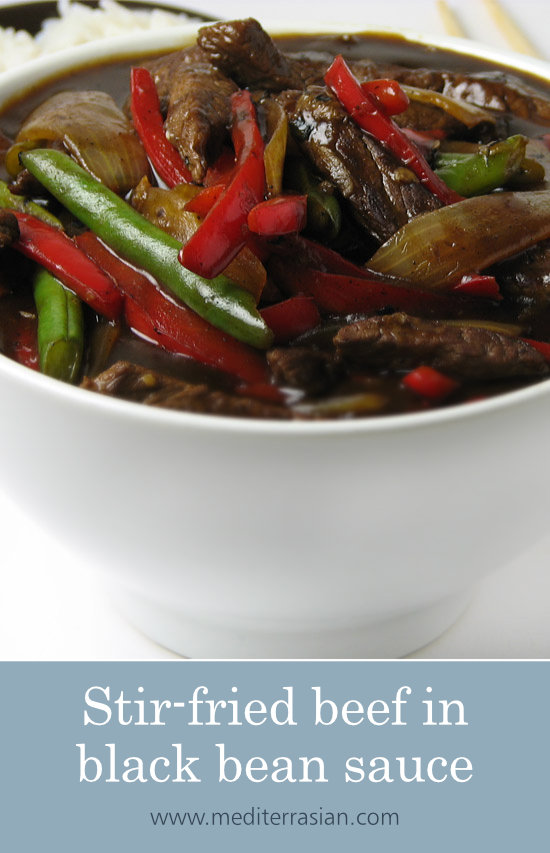 Stir-fried beef in black bean sauce