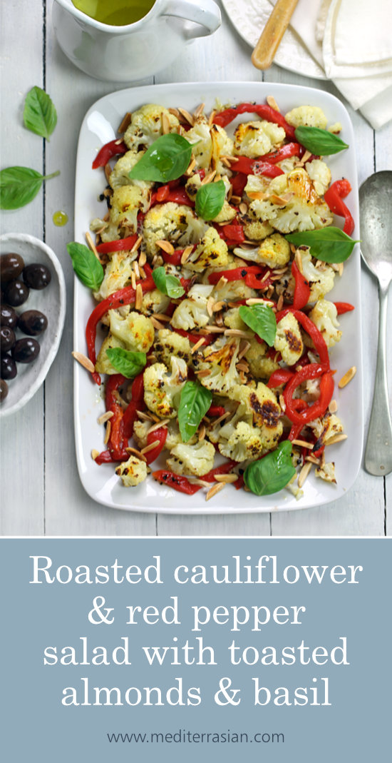 Roasted cauliflower and red pepper salad with toasted almonds and basil
