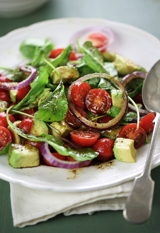 Cherry tomato, avocado and arugula salad with balsamic vinaigrette