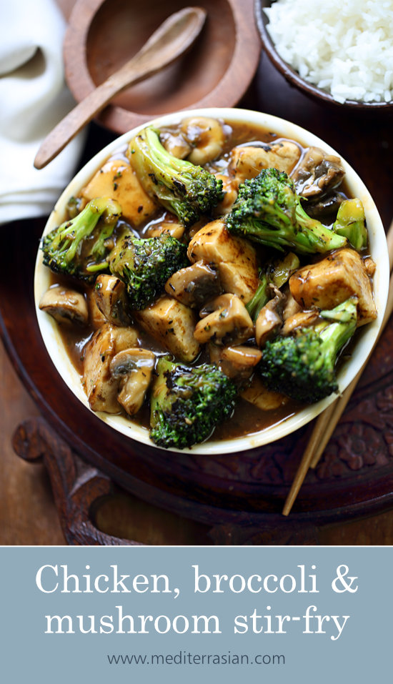 Chicken, broccoli and mushroom stir-fry