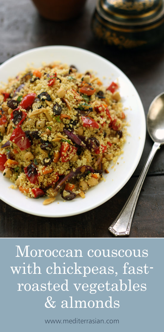 Moroccan couscous with chickpeas, fast-roasted vegetables and almonds