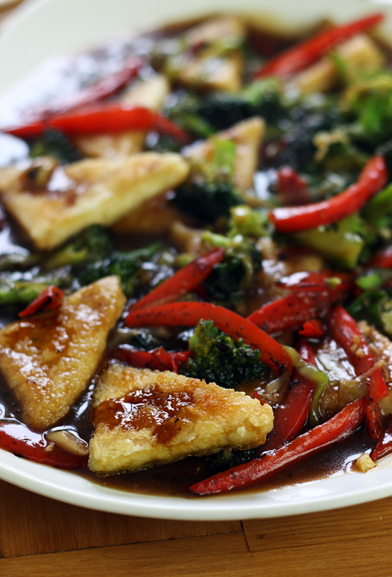 Crispy-fried tofu with stir-fried vegetables and soy-sesame sauce