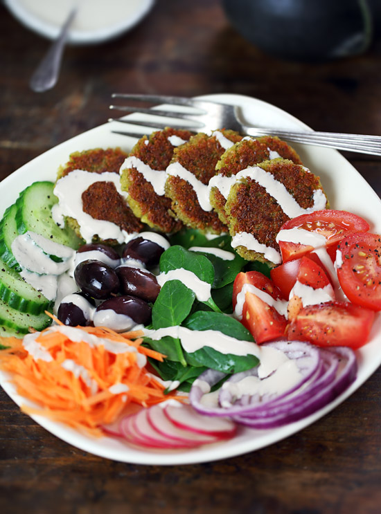 Falafel bowl with tahini dressing