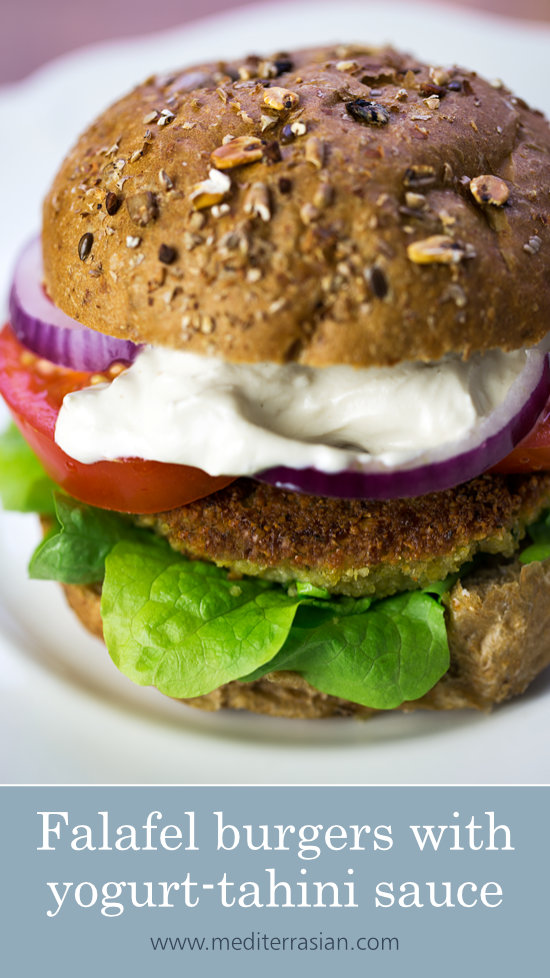 Falafel burgers with yogurt-tahini sauce