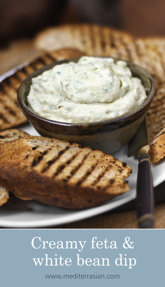 Creamy feta and white bean dip