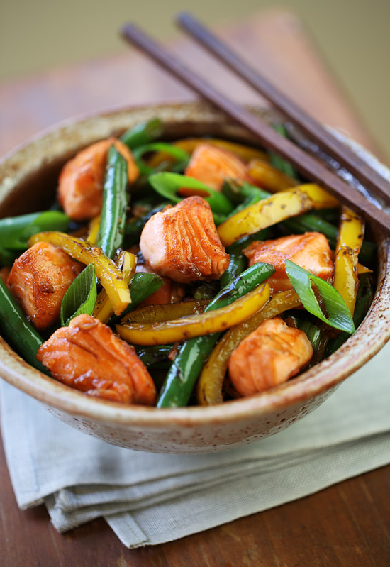 Gingered salmon stir-fry