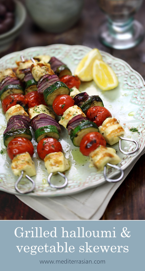 Grilled halloumi and vegetable skewers