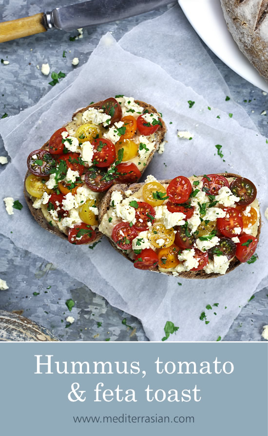 Hummus, tomato and feta toast