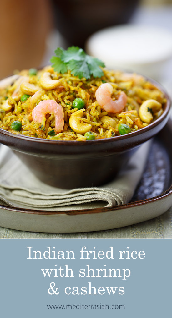 Indian fried rice with shrimp and cashews