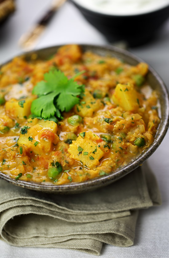 Lentil, pea and potato curry