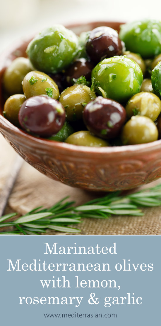 Marinated Mediterranean olives with lemon, rosemary and garlic