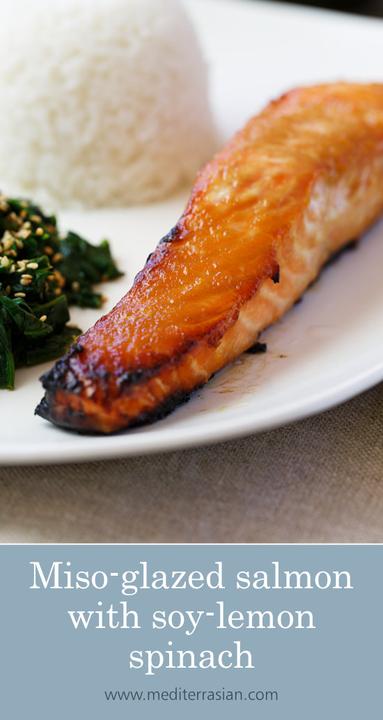 Miso-glazed salmon with soy-lemon spinach