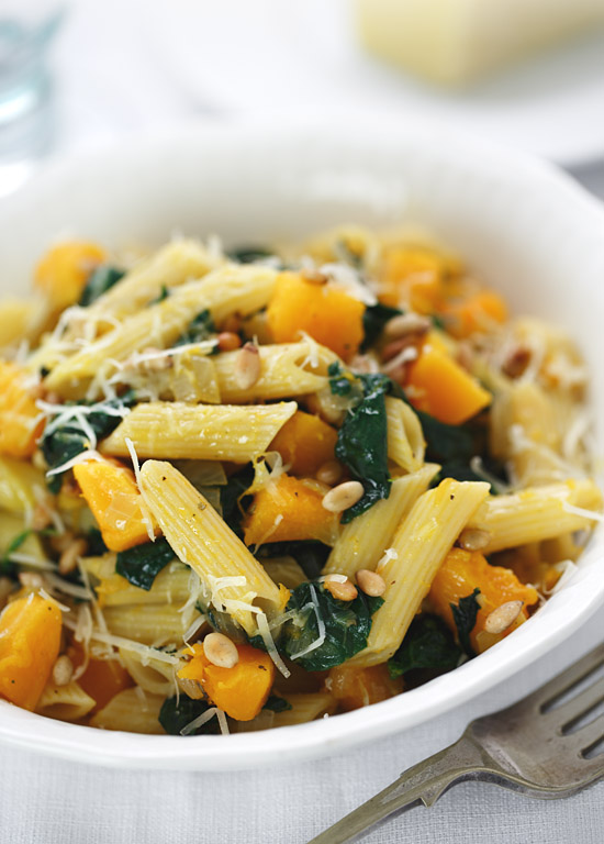 Pumpkin, spinach, pine nut and Parmesan pasta