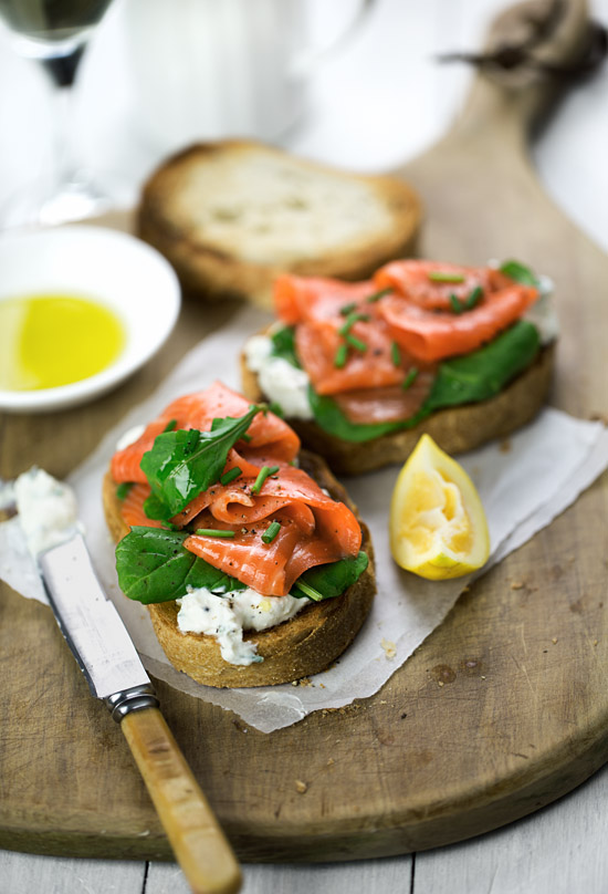 Smoked salmon bruschetta with arugula and lemon-chive ricotta