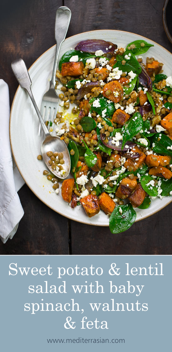Sweet potato and lentil salad with  baby spinach, walnuts and feta