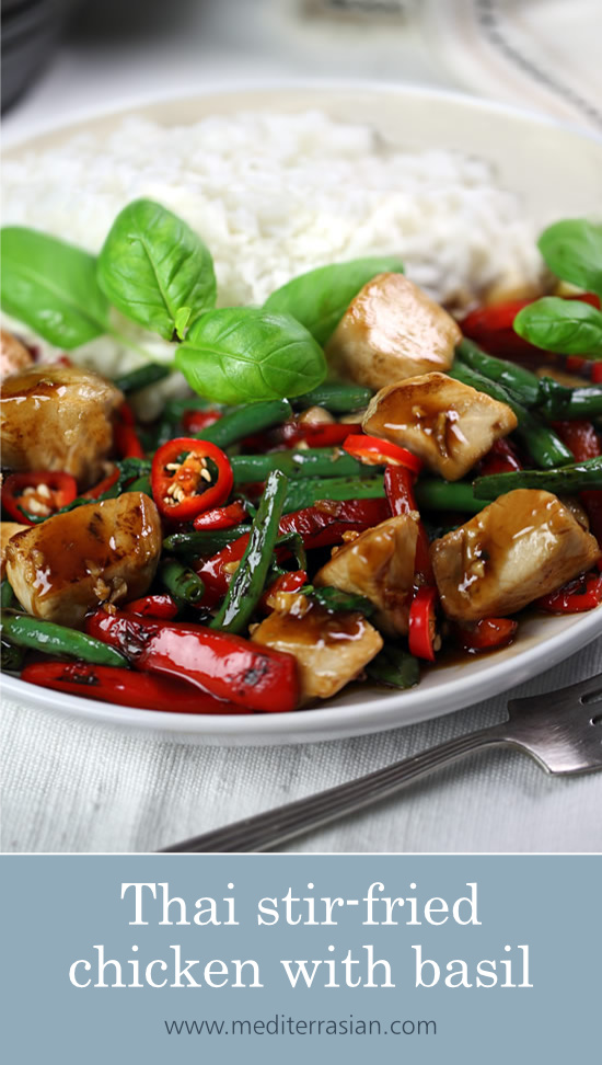 Thai stir-fried chicken with basil (Pad kra pao)