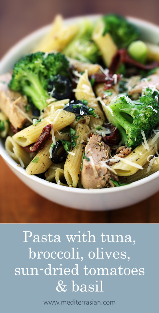 Pasta with tuna, broccoli, olives, sun-dried tomatoes and basil