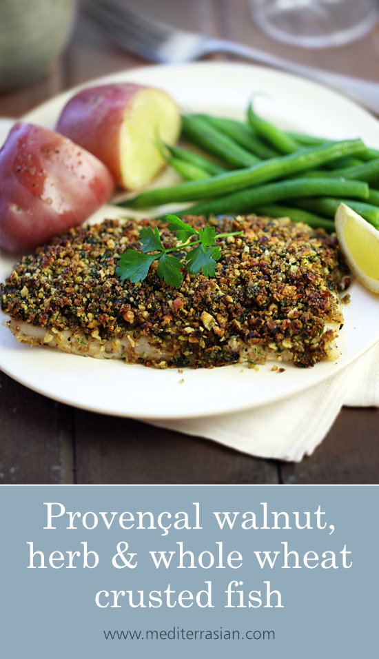 Provençal walnut, herb and whole wheat crusted fish